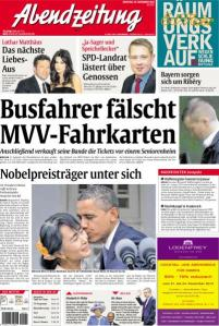 """Titelseite """"Abendzeitung"""" vom 20. November 2012"""