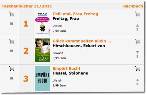 """Frau Freitag auf der """"Spiegel Bestsellerliste"""""""