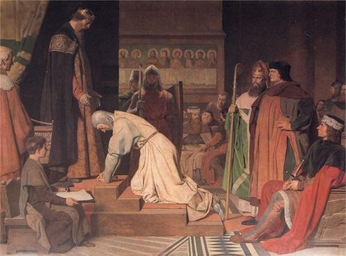 Unterwerfung Heinrichs des Löwen vor Kaiser Friedrich I. Barbarossa in der Erfurter Peterskirche im Jahre 1181