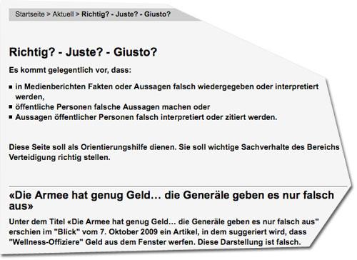 Screenshot Website der Schweizer Armee
