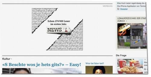 Screenshot Tagesanzeiger.ch vom 8.12.2009, 10 Uhr