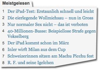 Screenshot derbund.ch vom 28. Januar 2010