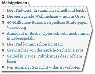 Screenshot tagesanzeiger.ch vom 28. Januar 2010