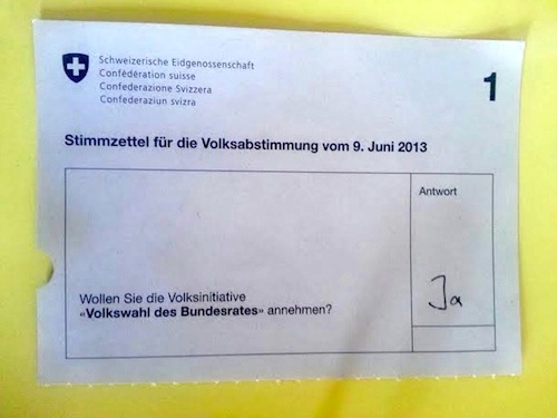 Stimmzettel zur Volkswahl des Bundesrats