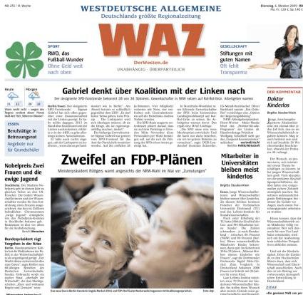 Titelseite WAZ