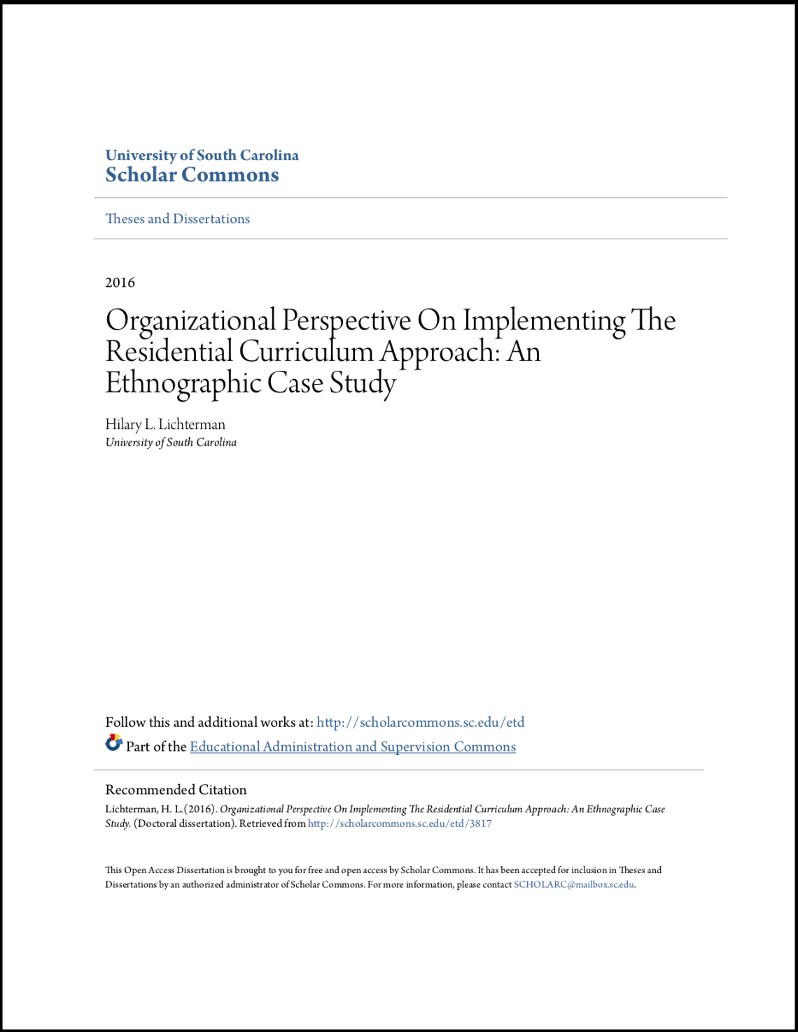 Organizational Perspective On Implementing The Residential Curriculum Approach