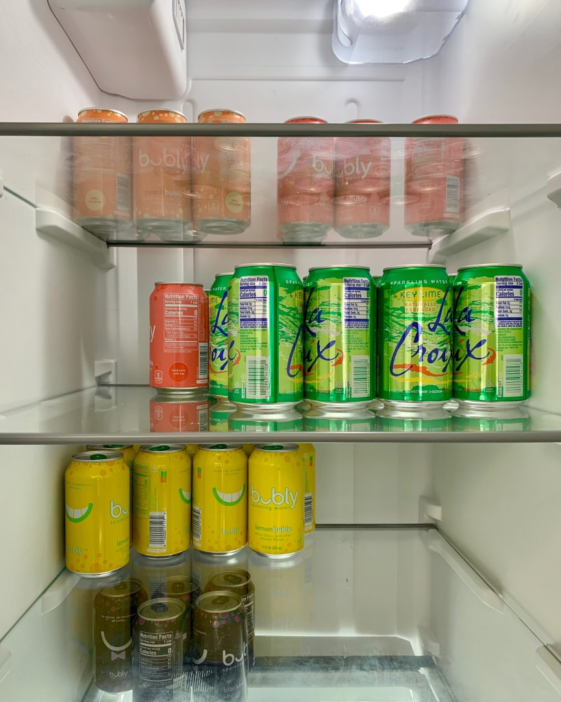 Free sparkling water in the fridge