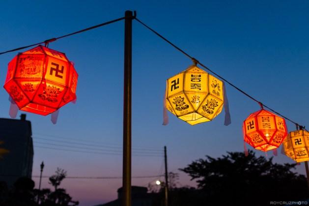Lanterns at Dusk Seogwangsa (서광사) Temple Tongyeong, South Korea ISO 1000