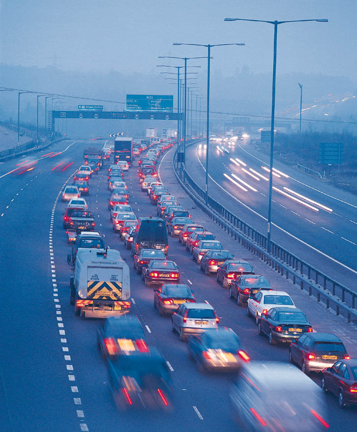 Traffic on M25, UK