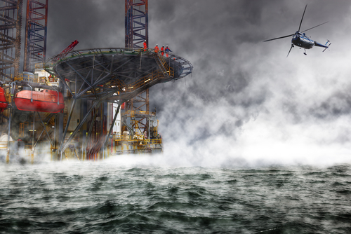 Oil rig disaster image in the sea