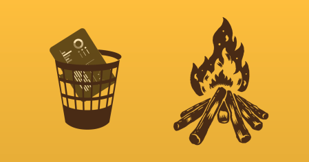 A visualization of a computer thrown away and a fire