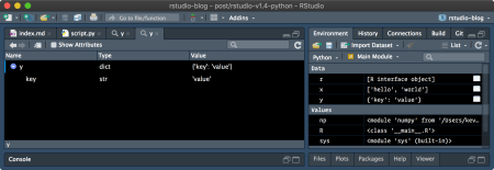The object explorer, used to view a simple Python dictionary.