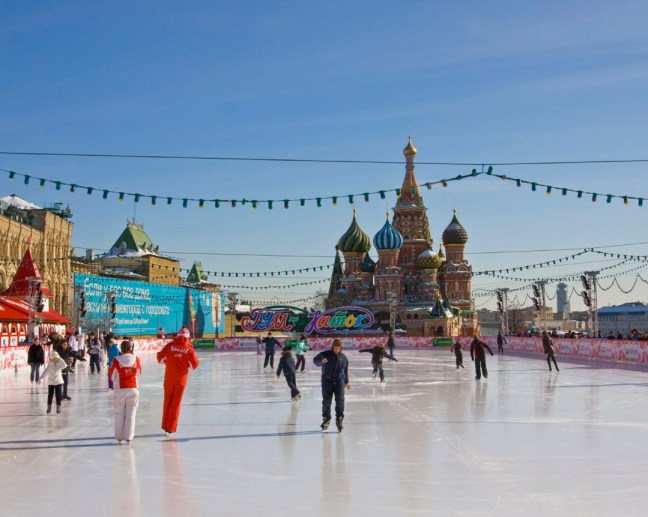 Moscow, skating-rink on Red square with St. Basil's (Pokrovskiy) cathedral. Moscow, skating ring on Red square with St. Basil's (Pokrovskiy) cathedral. In winter Red square changes in a big skating-rink, remaining from December till April, - this is a new Russian tradition. Recorded 08.03.2011.