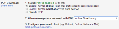 Gmail POP Settings for osTicket