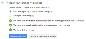 Google Domains Transfer Step 2: Import Web Settings