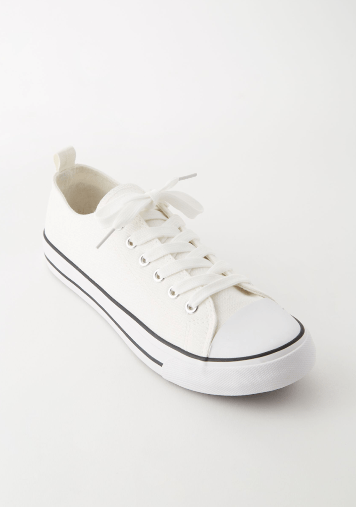 White Striped Low Top Canvas Sneakers