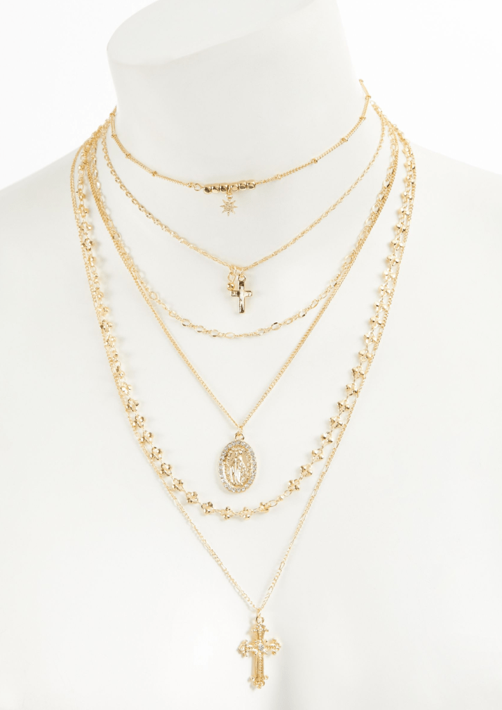 6-Pack Gold Cross Bead Necklace Set