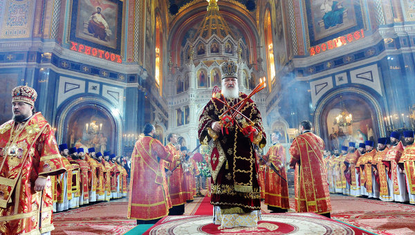 Easter Sunday service at an Orthodox Church in Russia.