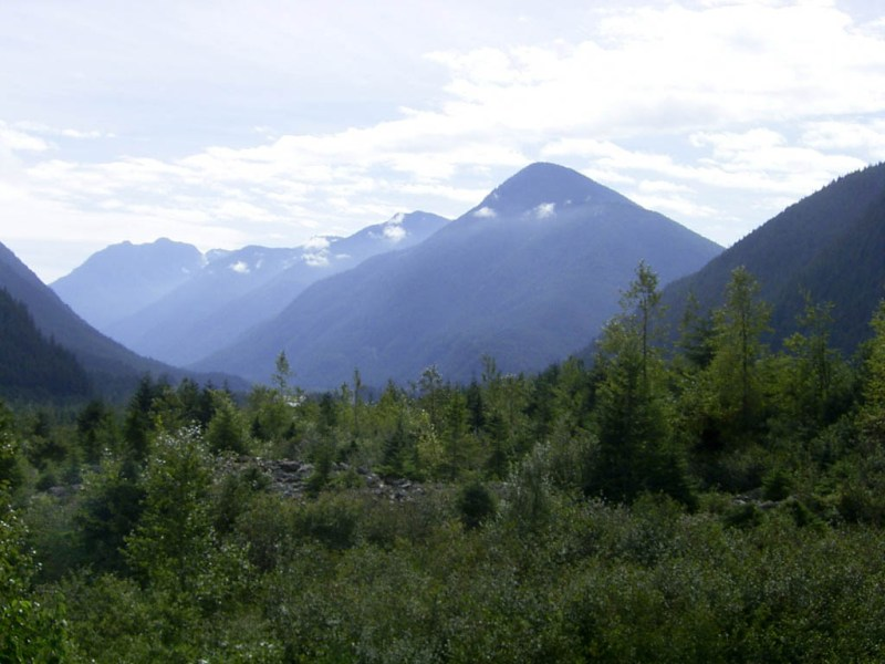 A view east from the site of the Hope Slide
