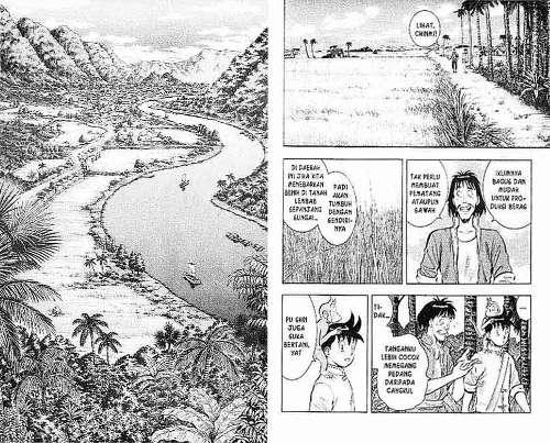 potongan manga kungfu boy karya takeshi maekawa, perhatikan bahwa di panel kiri yang menampilkan pemandangan sama sekali tidak ada tulisan (mangaspiral.blogspot)