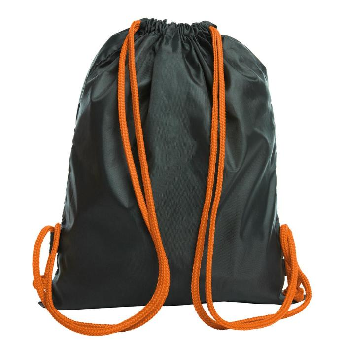 Sacca richiudibile nera con cordoncino arancione