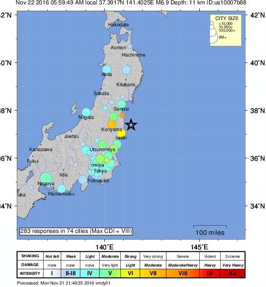 Earthquake intensity map