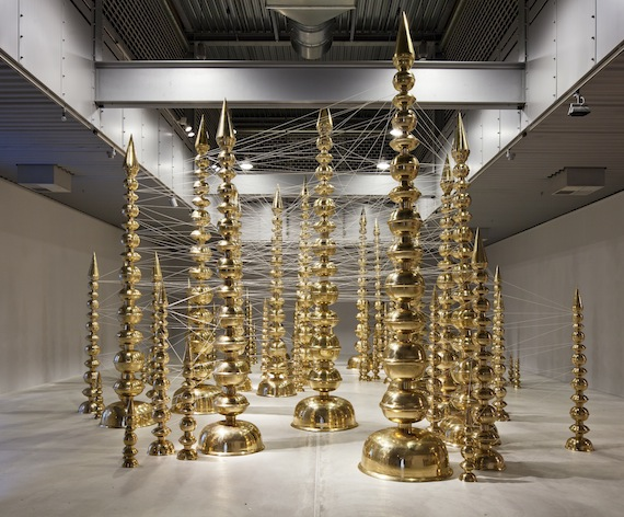 Subodh Gupta, Terminal, 2010 at ARKEN Brass and thread Dimensions variable.