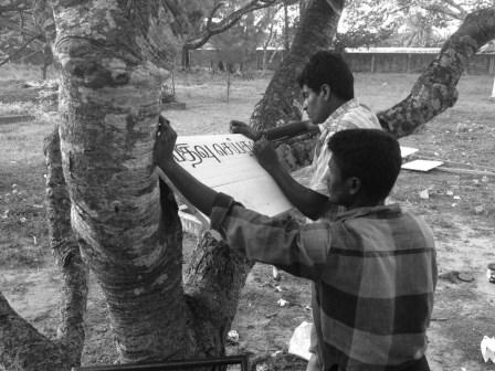 Preparations for opening of Open Edit: Mobile Library at Seva Christa Ashram, Jaffna, Sri Lanka, 2013. Photo: Courtesy Raking Leaves