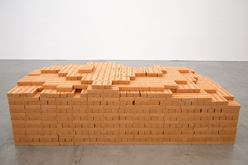 Threat, Bathing Soaps, 2008-09,5.9x2.5x1.6 in | 15x6.2x4 cm each soap, 28.5x90x42 in | 72x229x107 cm stack of 4500 soaps Image Credit: http://shilpagupta.com/pages/2009/09threat.htm