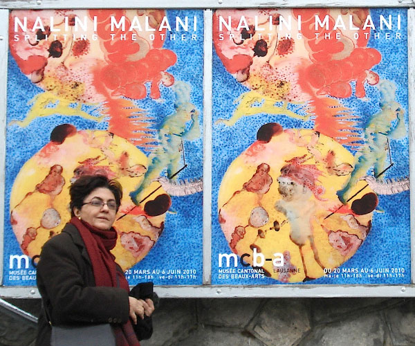 Nalini Malani Installing the Retrospective Exhibition, Nalini Malani: Splitting the Other at Musèe Cantonal des Beaux Arts, Lausanne, 2010