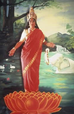 Pushpamala N. The Native Types - Lakshmi (After Oleograph from Ravi Varma Press, Early 20th Century) 2001 C print on metallic paper 61 x 50.8cm. Image Credit: http://www.theartwolf.com/exhibitions/indian-art-mori.htm