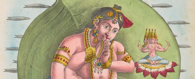 "Nârâyana ou Vatapatrakai."" Jean Henri Marlet (1771–1847) and Co. after A. Géringer (19th century). Hand-colored lithograph on paper. From or after a French copy of J. J. Chabrelie, A. Géringer, Eugène Burnouf, and Eugène Jacquet, L'Inde Francaise (French India) (Paris: Chabrelie, 1827–35). Robert J. Del Bontà collection, E079."