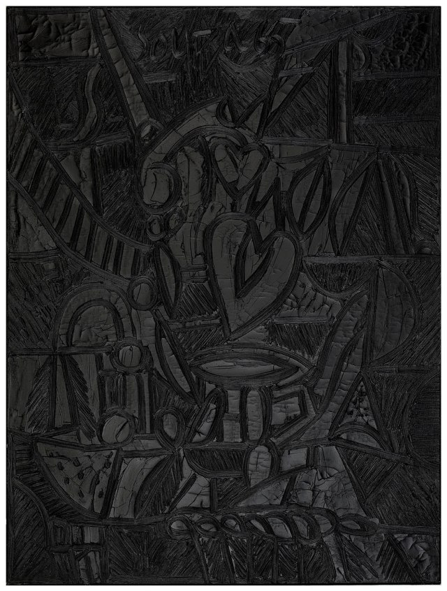 Black Valentine, 1965, F. N. Souza. Image Credit: http://grosvenorgallery.com/exhibitions/current-exhibitions/f-n-souza-black-on-black/#