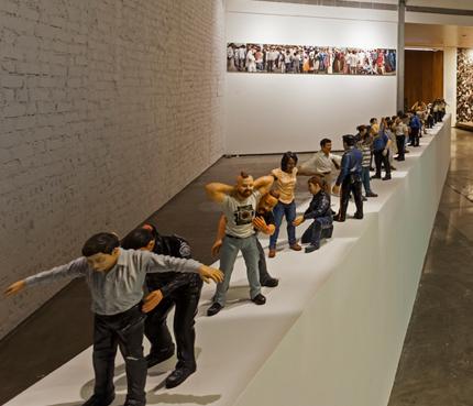 Jitish Kallat Circadian Rhyme, 2 & 3, 2012-2013 24 figures (resin, paint, aluminium and steel) 50 x 180 x 15 in.
