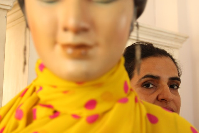 """I am reminded of the Wizard of Oz who puppeteered fantastic illusions – here, Bharti Kher keeps a watchful eye on the lifeless, yet lively, mannequin."""