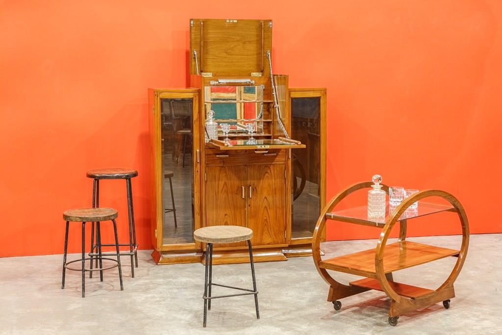 Art Deco Bar Cabinet; Chandigarh Stools by Pierre Jeanneret; Art Deco Trolley