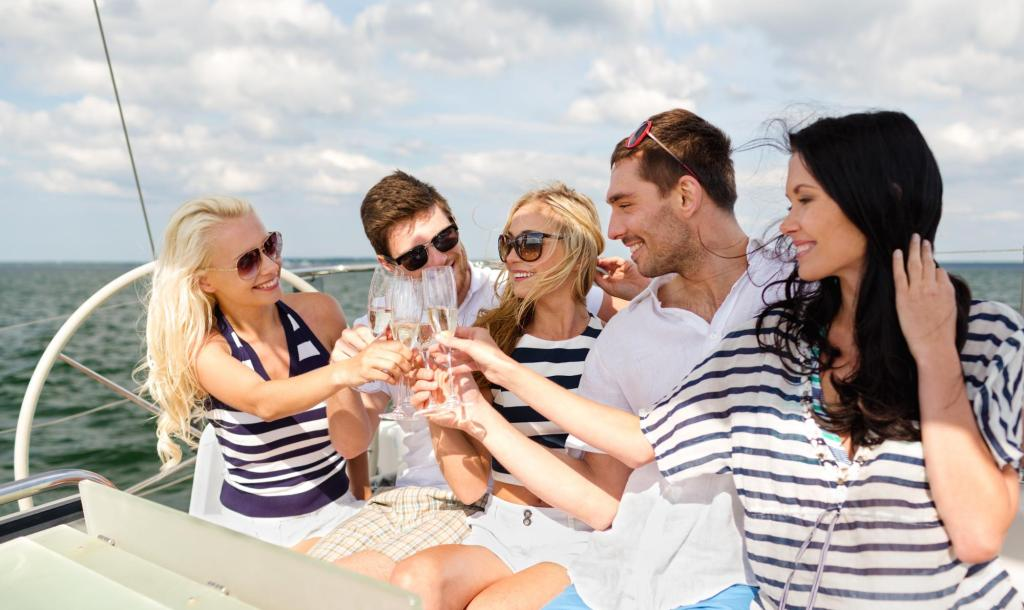 wine drinking on a boat
