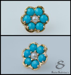 Flower from BVLA with turquoise and pearl
