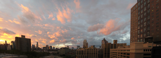 View from my apartment of the sunset after Hurricane Irene