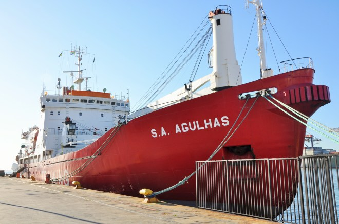 The SA Augulhas docked at the Cape Town harbour in August.