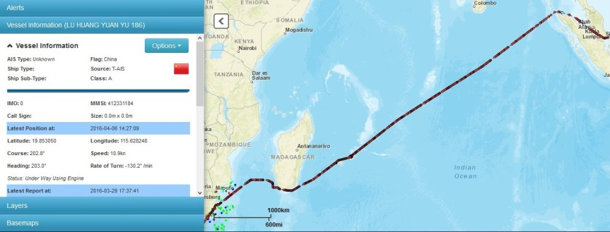 A screen image of the tracked route of the 10 Chinese fishing vessels that went past the South African coast and one of which was captured following to violation of some of the country's territorial waters' management laws.