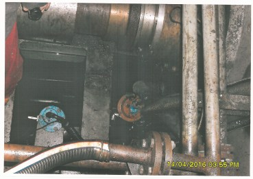 An image taken by SAMSA investigators aboard the Chinese vessel arrested in Cape Town and which show the condition of some of the water and oil management pipeline on the vessel.