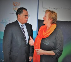 Nelson Mandela Bay Mayor Dr Danny Jordaan Right) chatting with Norway ambassador to South Africa Ms Trine Skymoen.