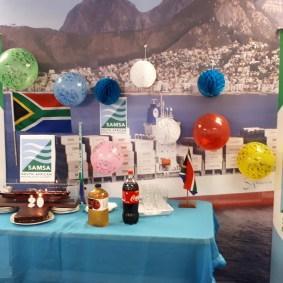 SAMSA 20th - SWR - cake, candles, logo, SA flags, vuvuzela, model ship,balloons, mountain, etc.