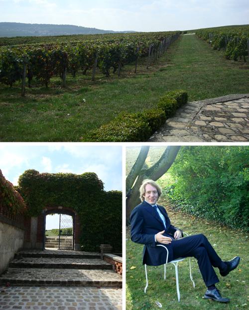 la Vigna (l'uva verrà trasformata in champagne Taittinger), la Porta e Clovis Taittinger | ©foto Sandra Longinotti