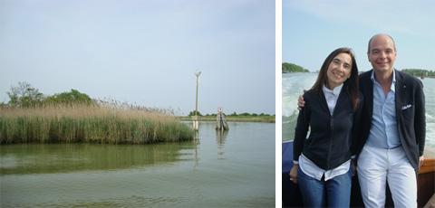 con Gianluca Bisol mentre attraversiamo la laguna in mezzo alle barene