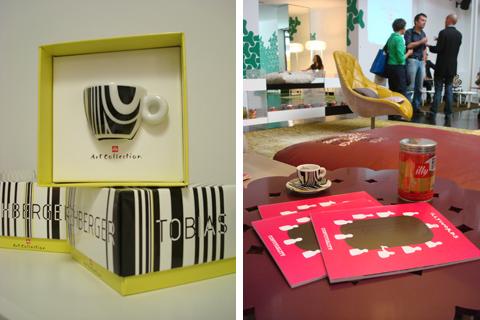 tazzina illy disegnata da Tobias Rehberger nel 2009 e nuovo barattolo d'autore illy