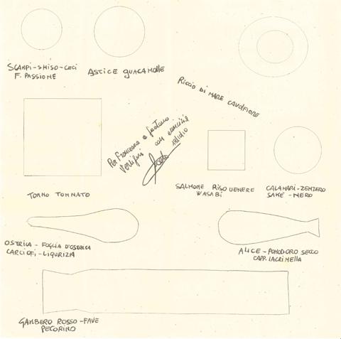 la carta-mappa del crudo di pesce di Sadler