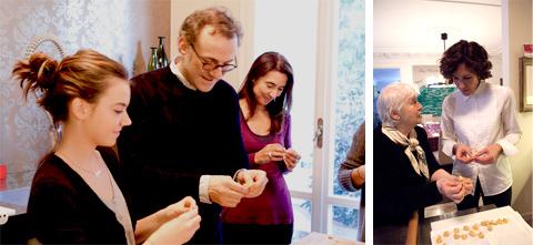 © Tutti a fare i tortellini: Massimo Bottura con me e Giulia - Lara con Nonna Lu (foto G. Frassi)
