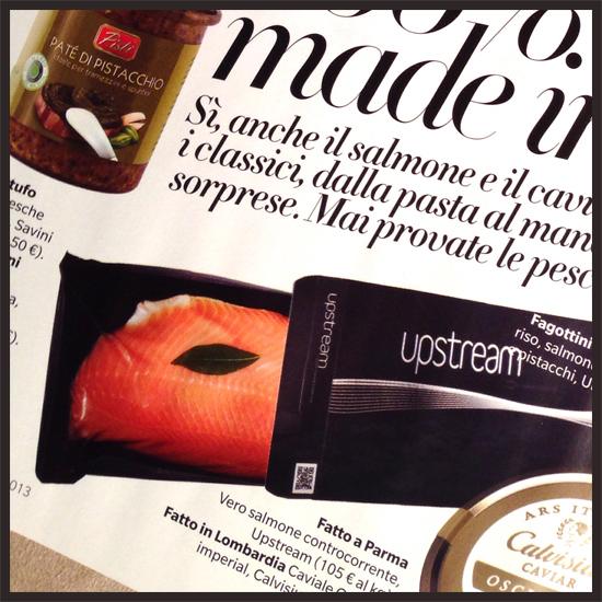 il mio articolo sul salmone affumicato Upstream, pubblicato su Myself n25 dicembre 2013/gennaio 2014 (©foto Strutturafine)